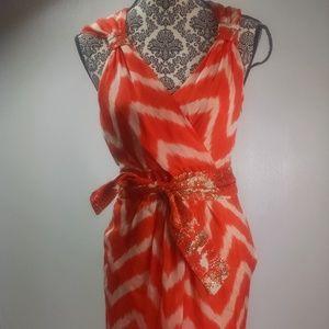 Milly of New York dress size 4 orange white gold